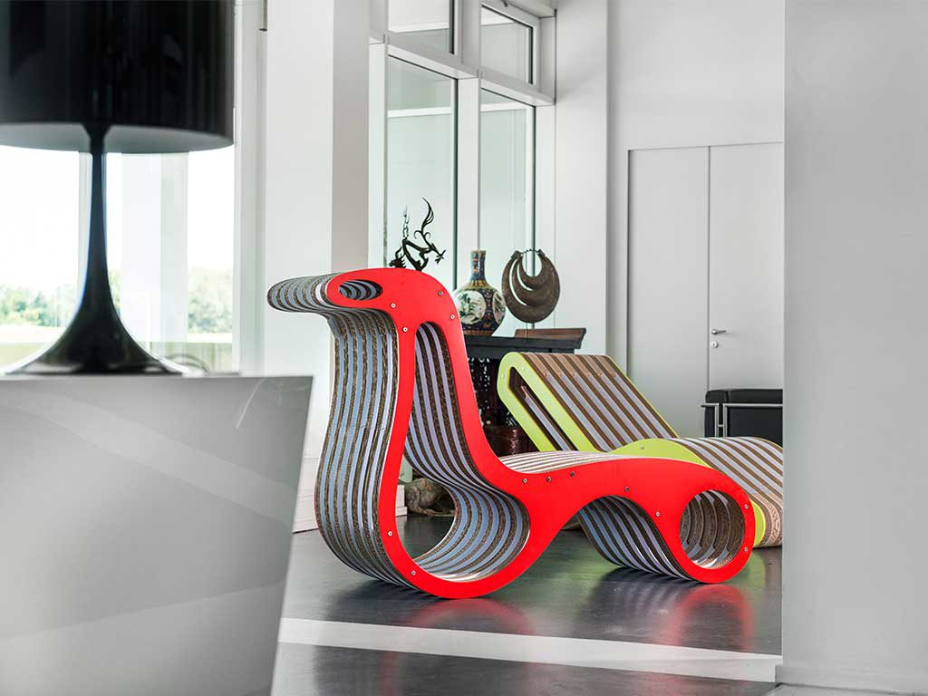 x2 chaise longue design eco green