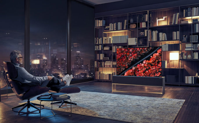 tv oled lg arrotolabile living casa