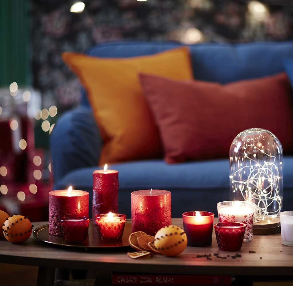 candele natale accese
