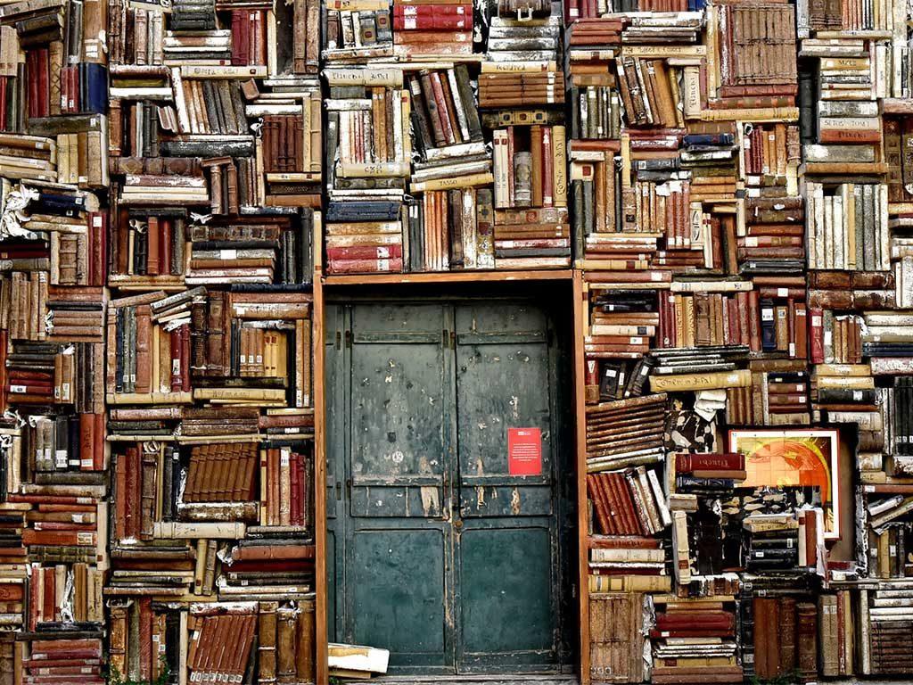 libreria parete piena libri