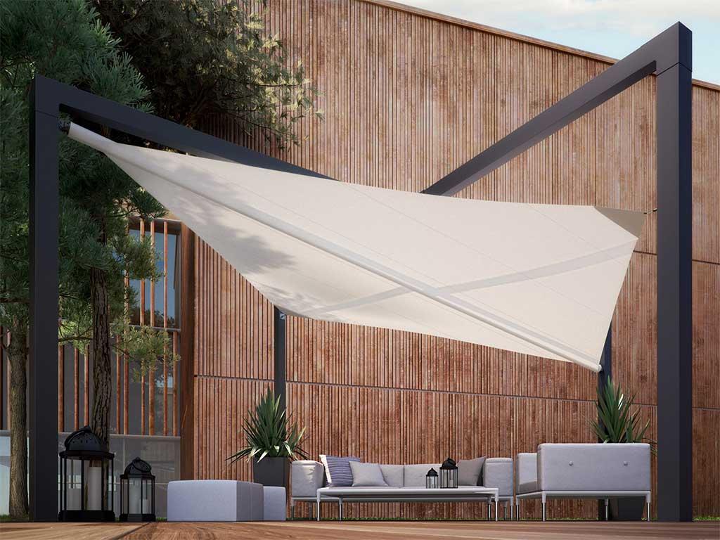 tenda da sole a vela con struttura
