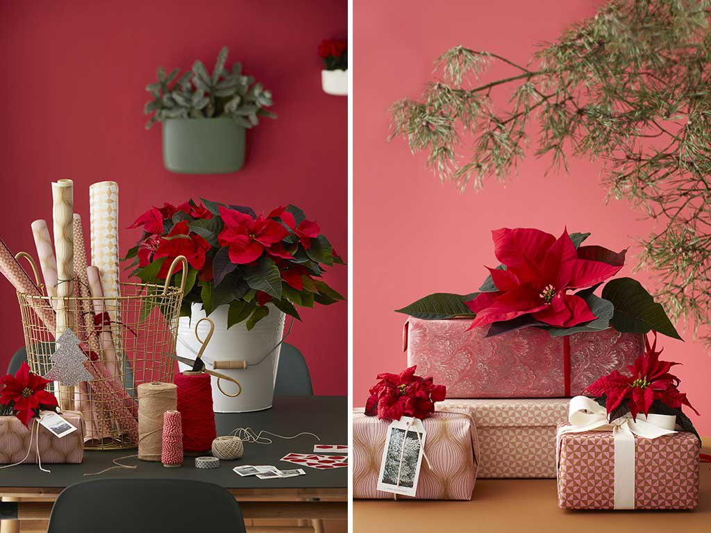 decorare pacchetti natale fiori