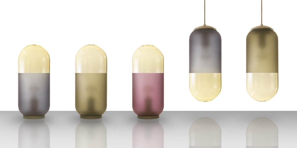lampade da tavolo e sospensione colorate di design