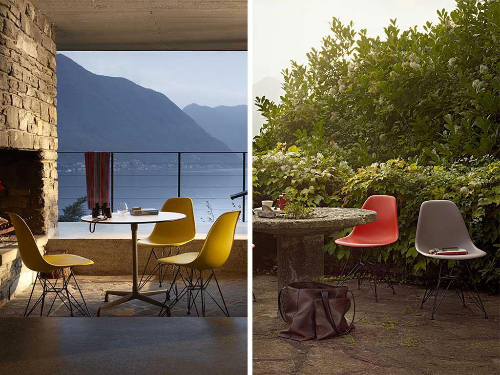 sedie in plastica colorata con zampe in legno in outdoor