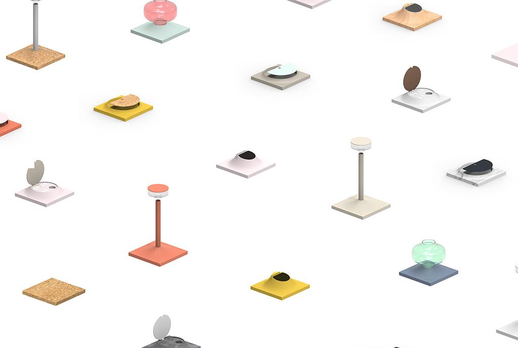 elementi modulari colorati per scrivania