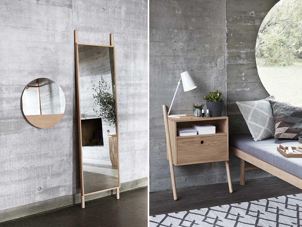 comodino legno e specchi camera da letto