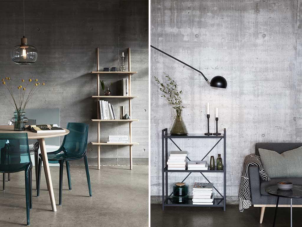 mobili libreria living e tavolo tondo