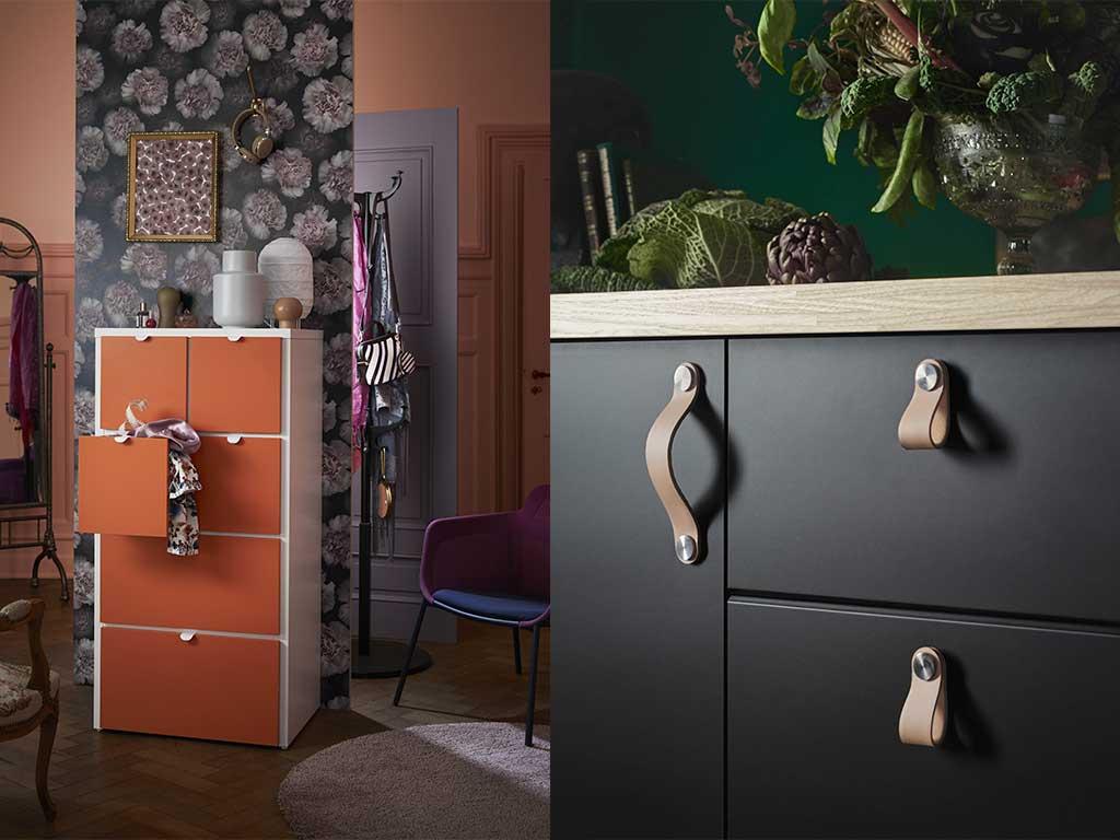 cassettiere colorate in legno