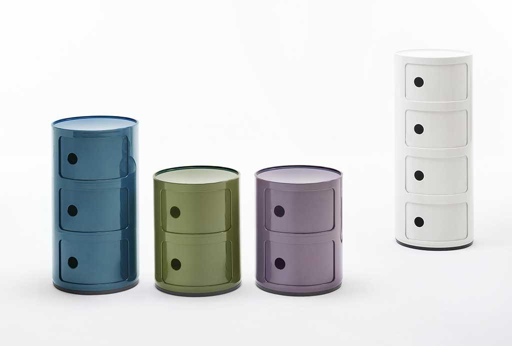 contenitori colorati in plastica per la casa