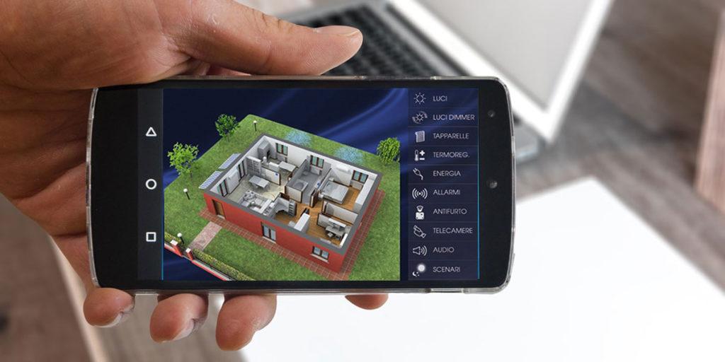 smartphone con app domotica