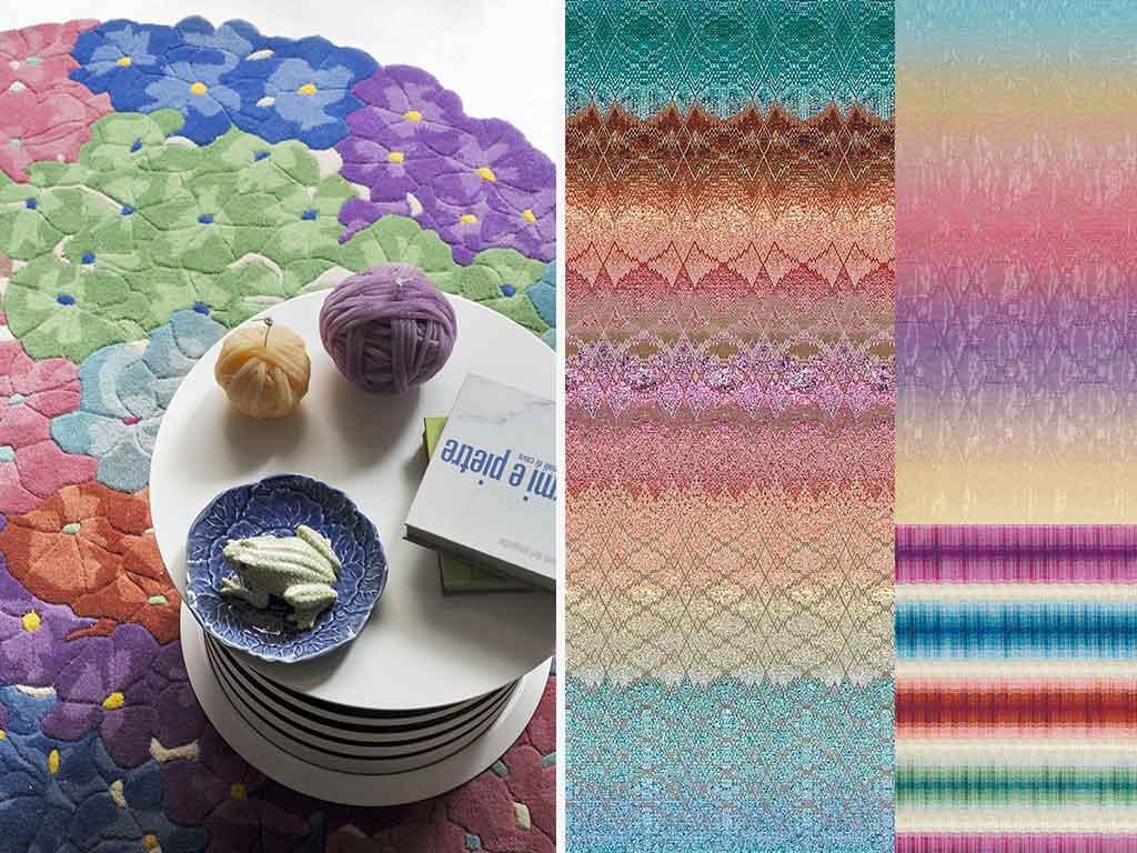 tappeto colorato e mood tessuti