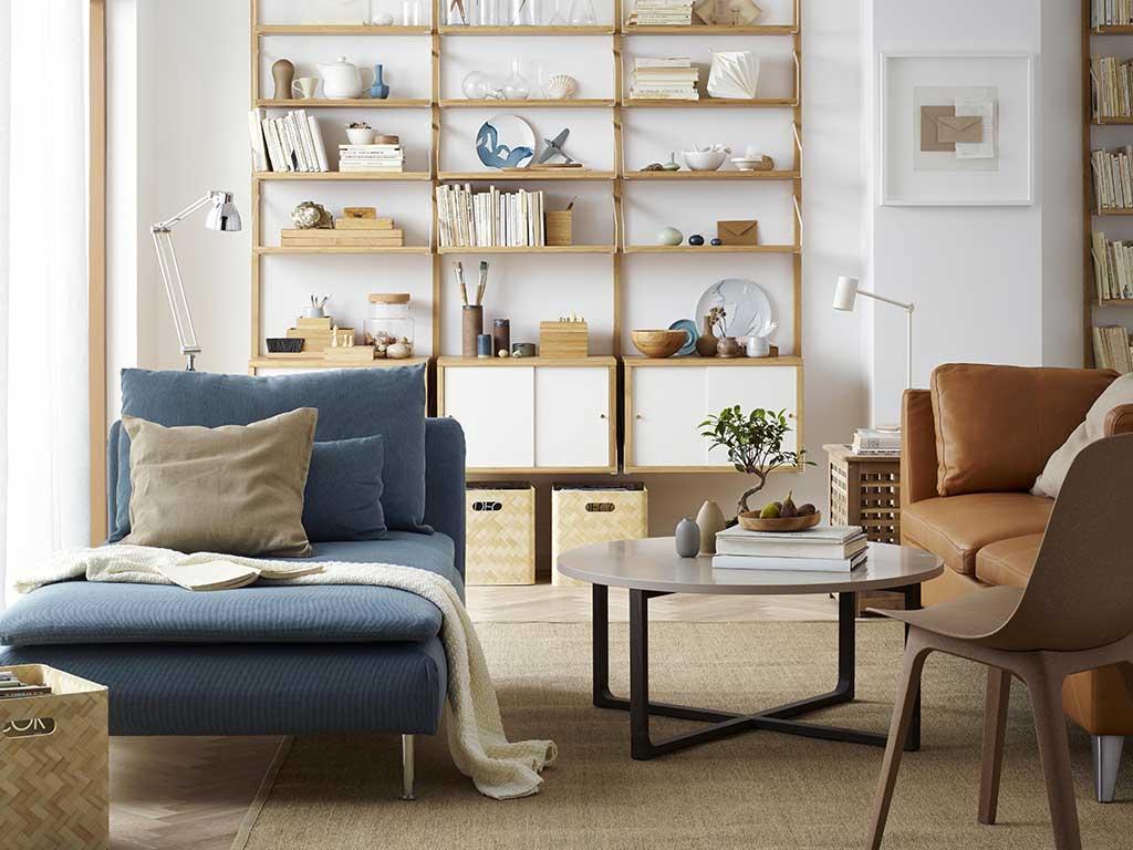 living con sedute e divano ikea