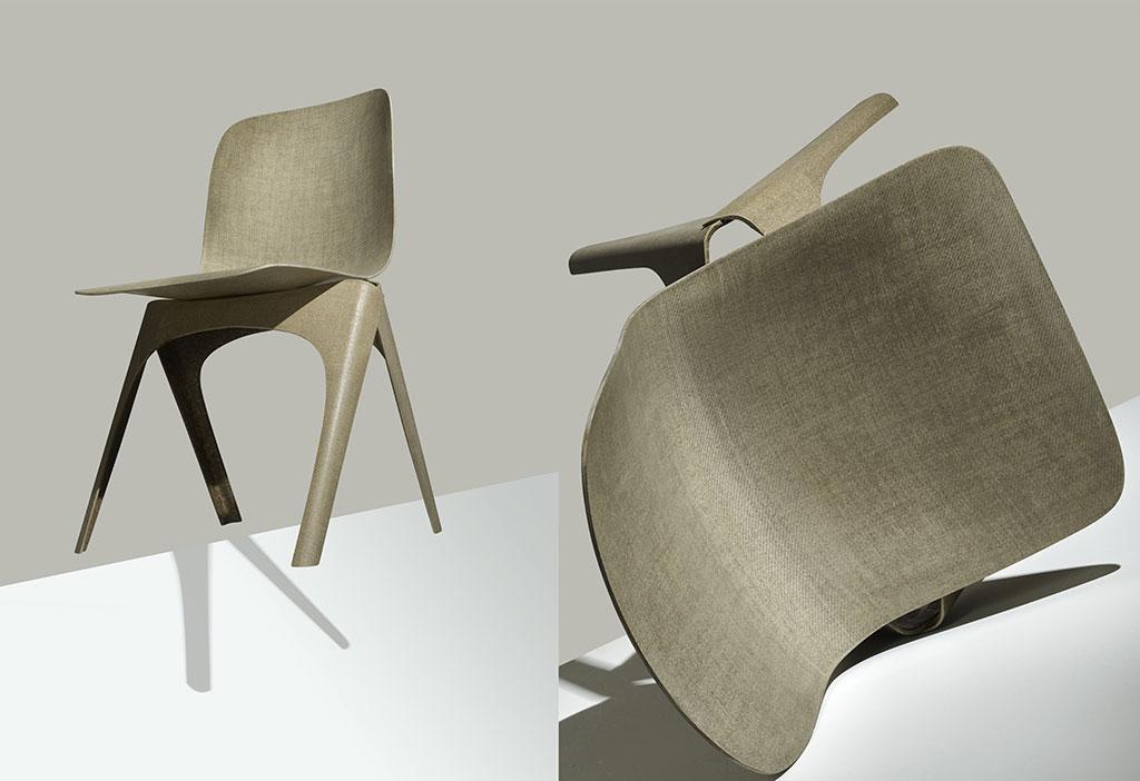 sedia con materiale scarto produzione