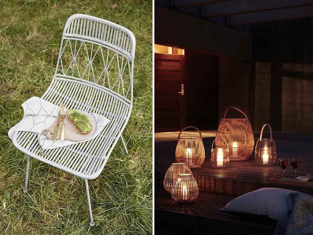 sedia e lanterne da esterno