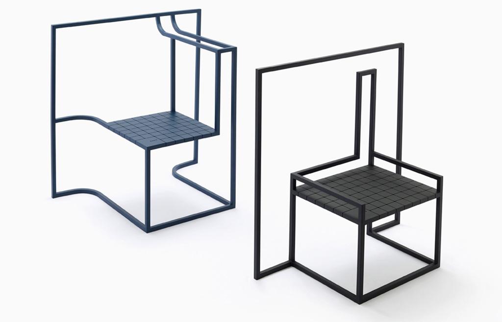 coppia sedute multifunzione design nero e blu
