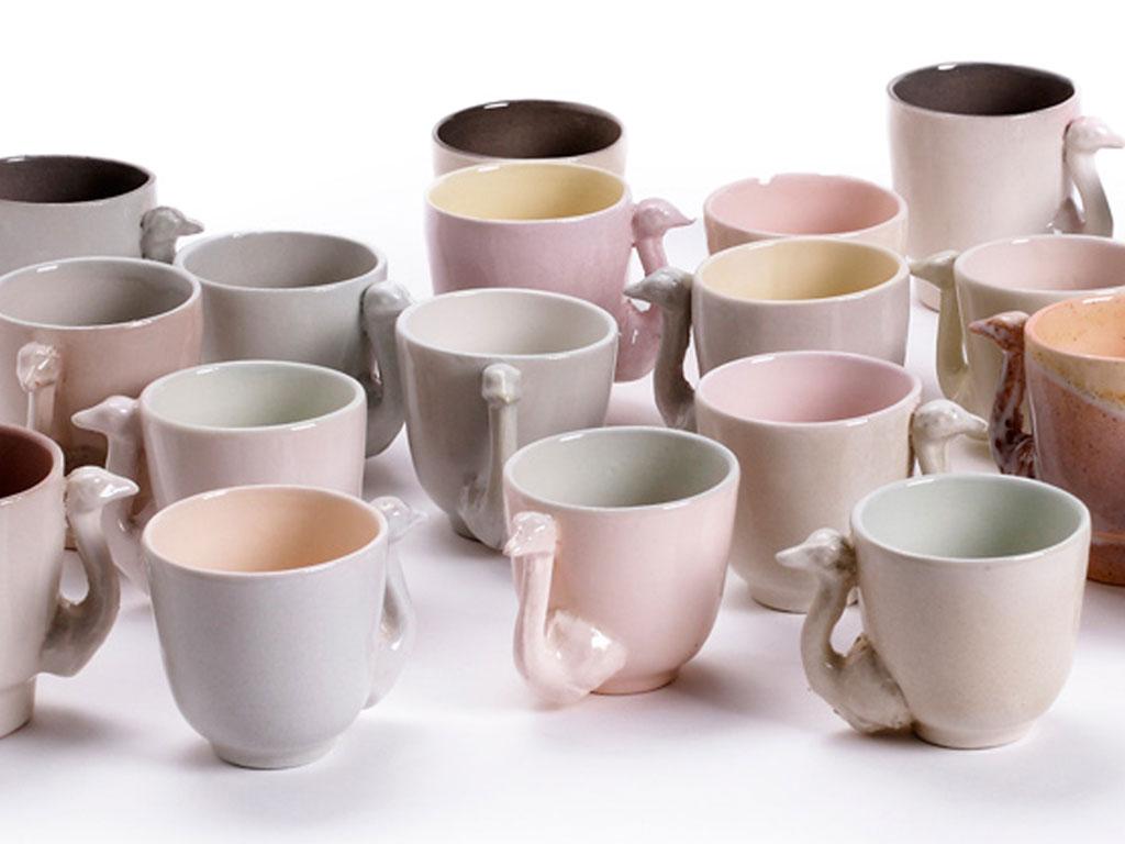 tazze e tazzine in ceramica rosa struzzo