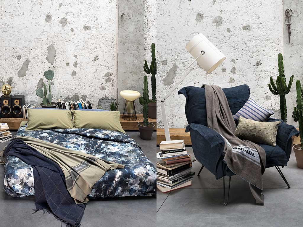camera da letto e poltrona con coperta