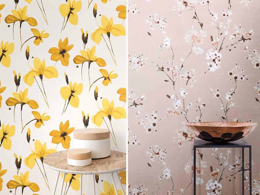 carta da parati a fiori gialli