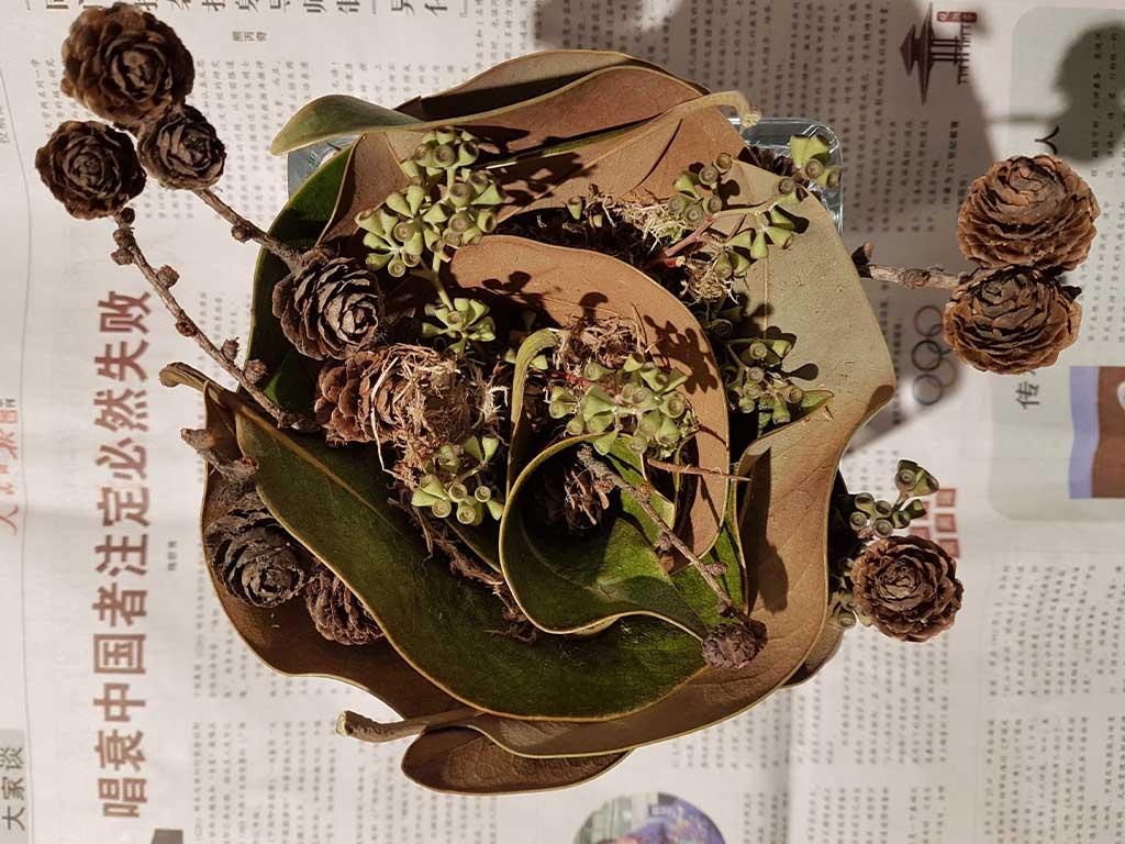 composizione fiori con cavolo orientale