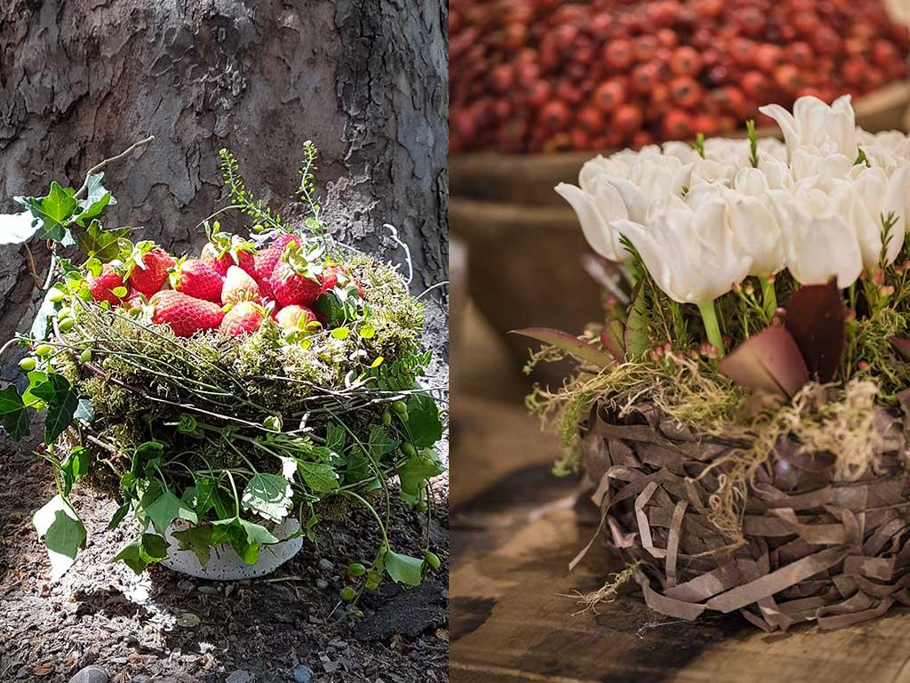 composizioni di fiori con fragole