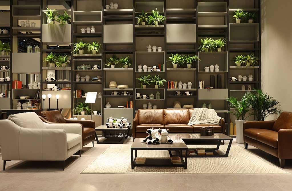 divani in pelle e libreria