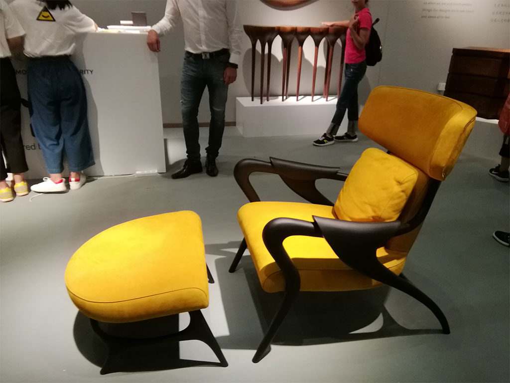 chaise longue imbottita giallo