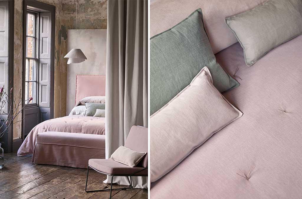 tessuti in lino per il letto rosa cipria