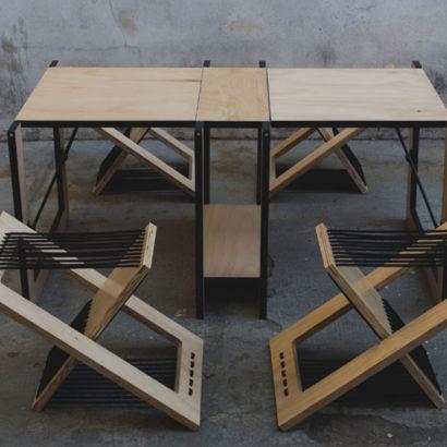 tavolo e sgabelli legno design