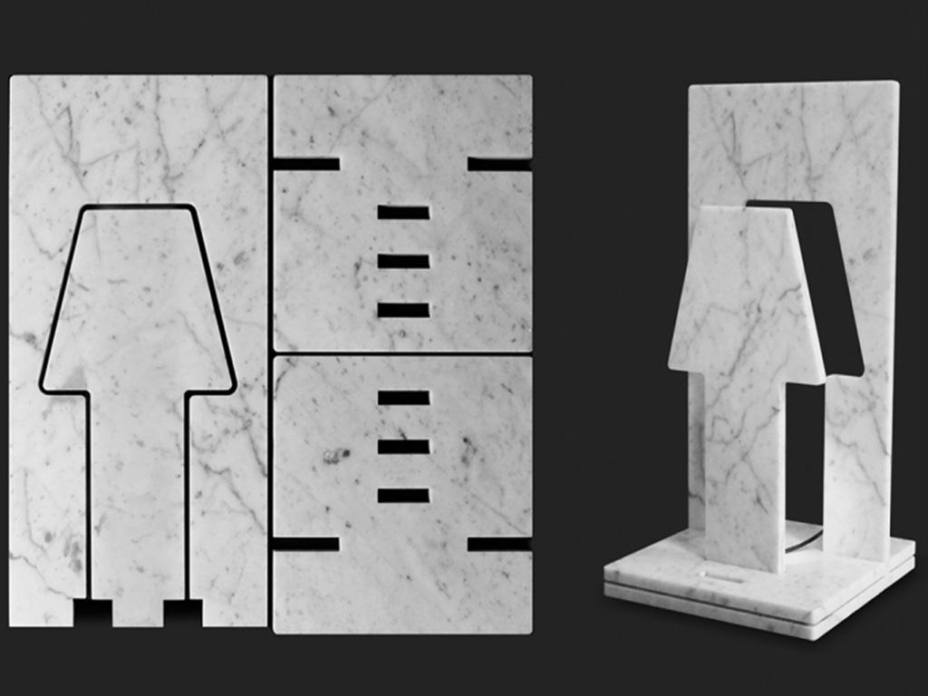 lampada da tavolo in marmo