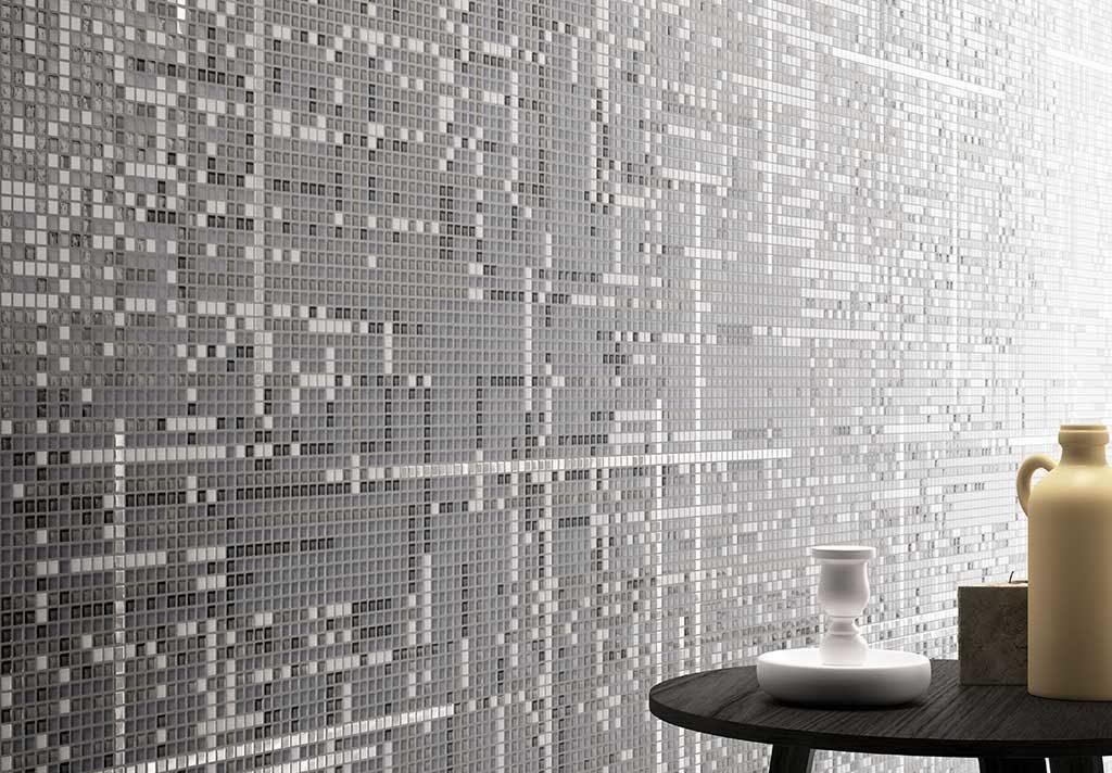mosaico bagno bianco e nero