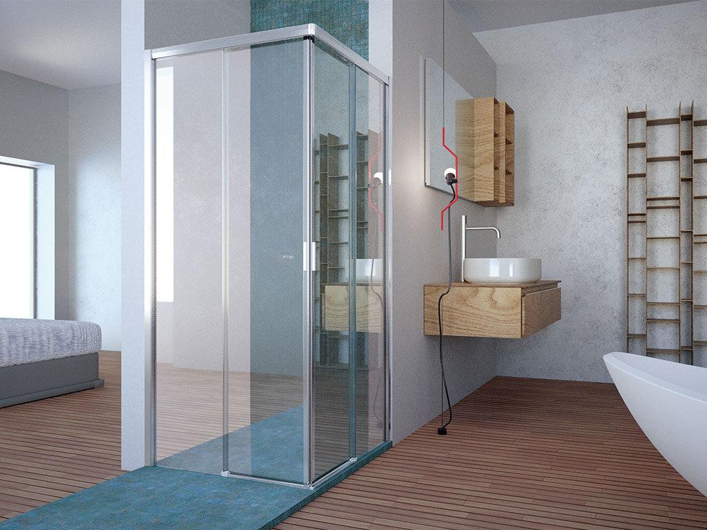 cabina doccia vetro angolare