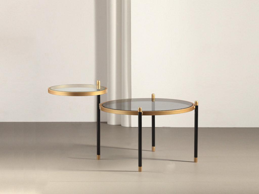 tavolinetto basso vetro e metallo