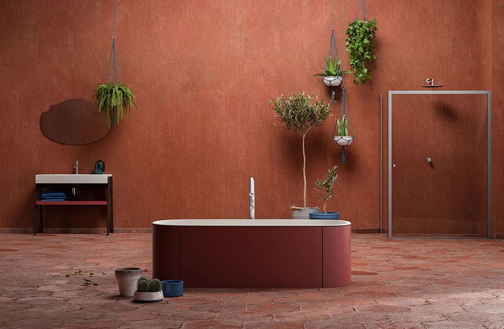 vasca bagno color ocra rossa