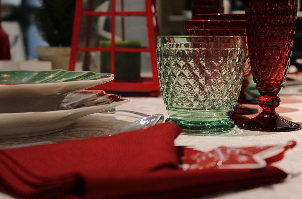 bicchieri rosso natale tavola