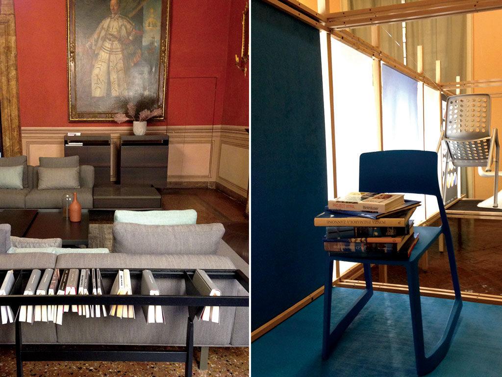 sedia design e divano con libreria