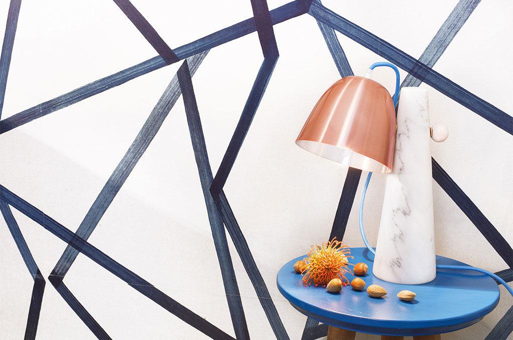 lampada tavolo marmo e rame