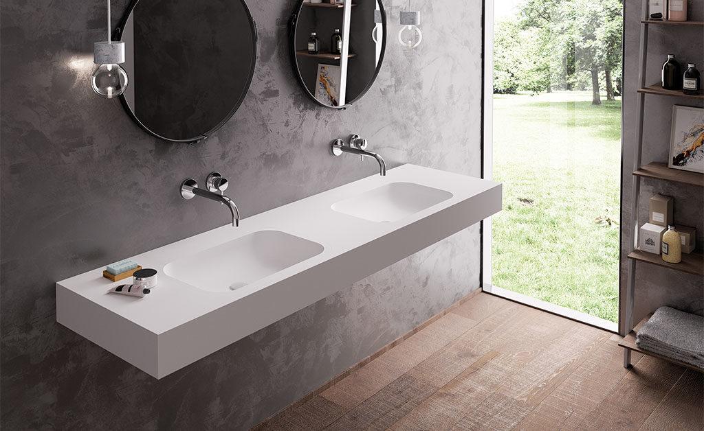 lavabo doppio bianco hi macs