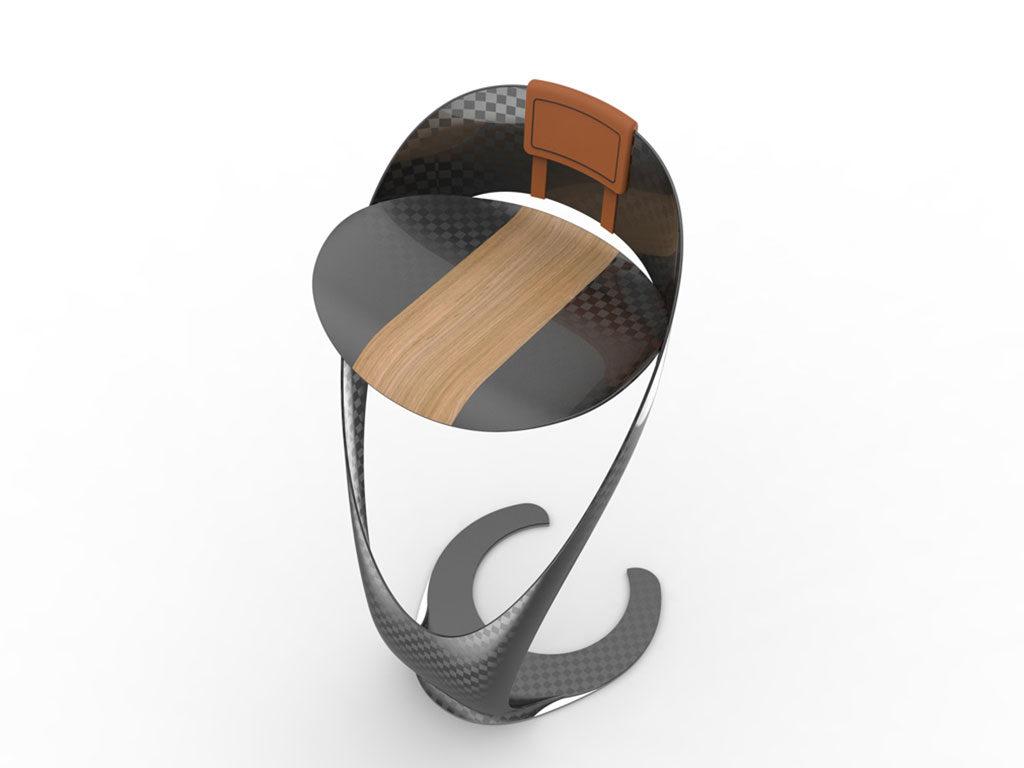 sgabello carbonio e legno