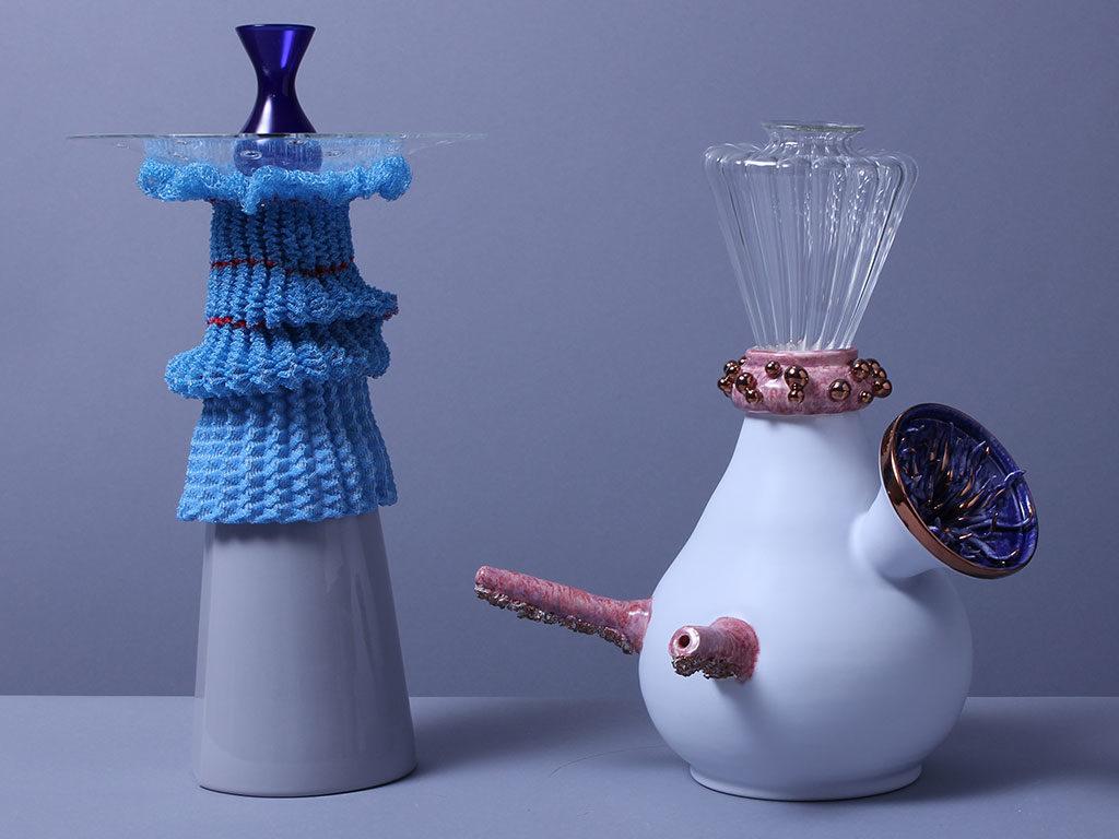 vaso e portacandela vetro e ceramica