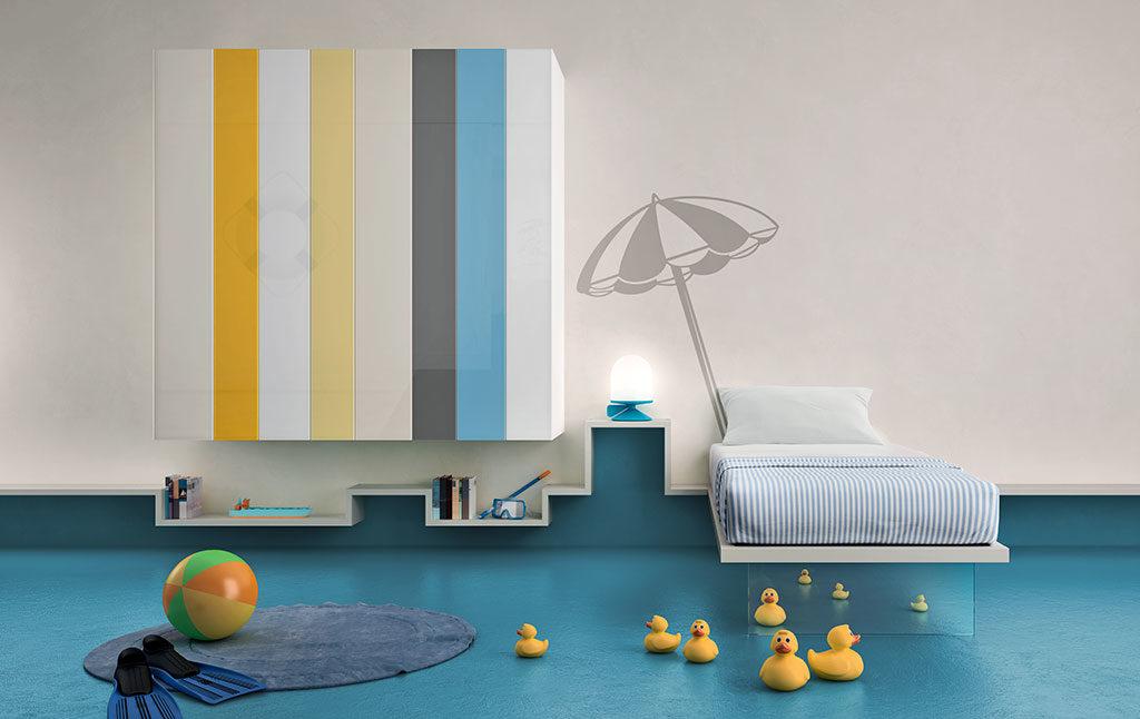 armadio parete sospeso colore strisce