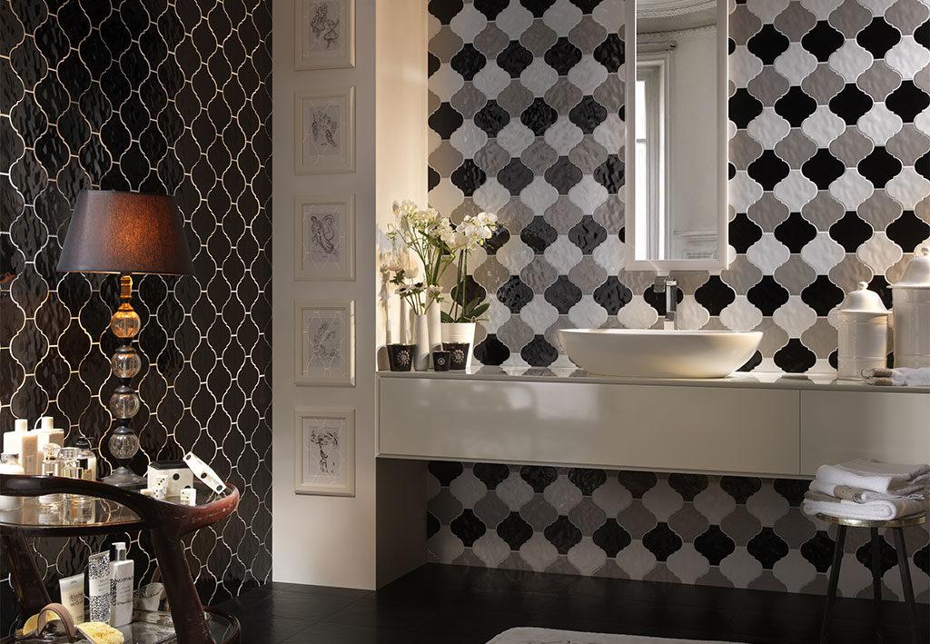 piastrelle bagno arabesque nero grigio