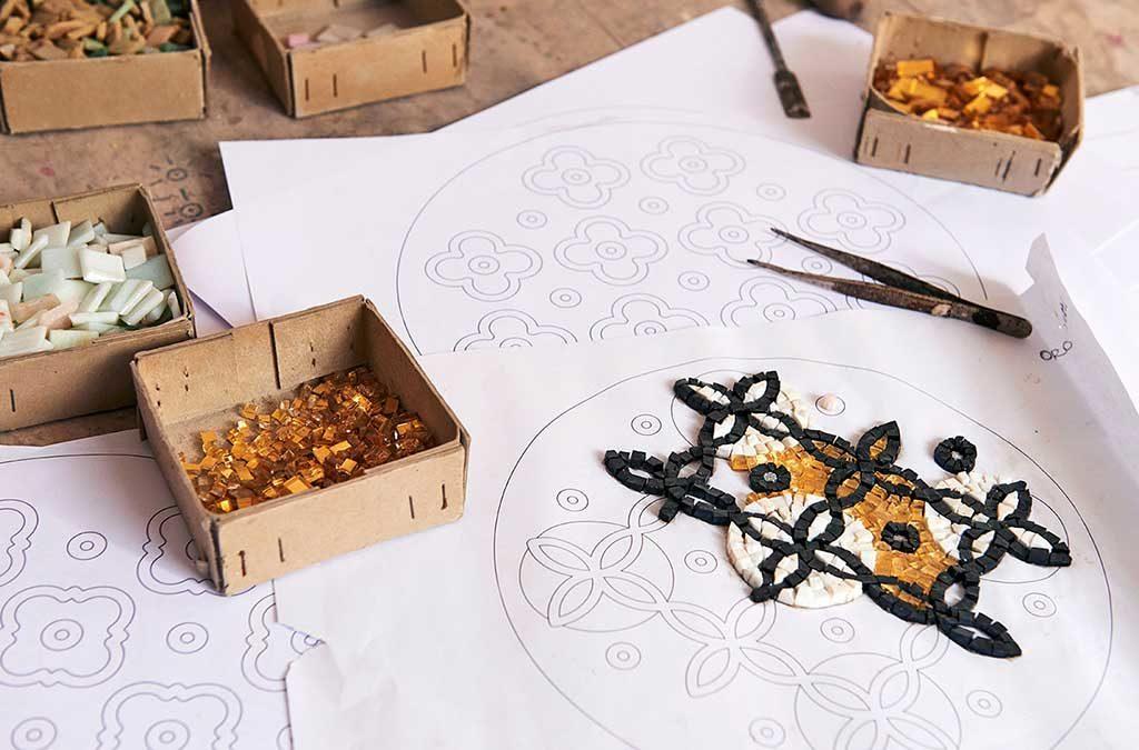 lavorazione mosaico disegni