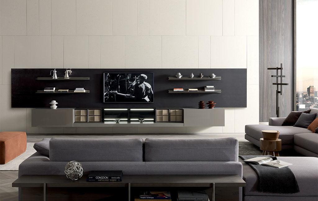 parete attrezzata living divano