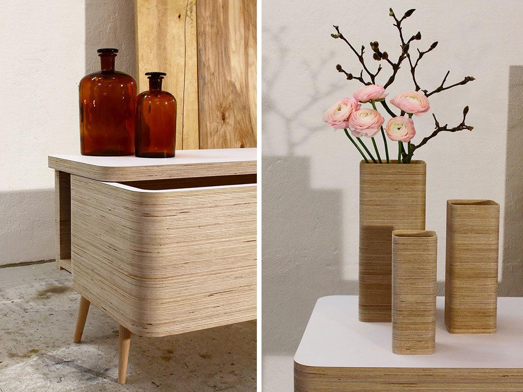 mobile legno e vasi legno