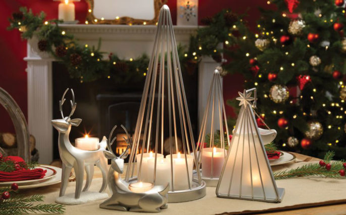 accessori tavola natale candele accese