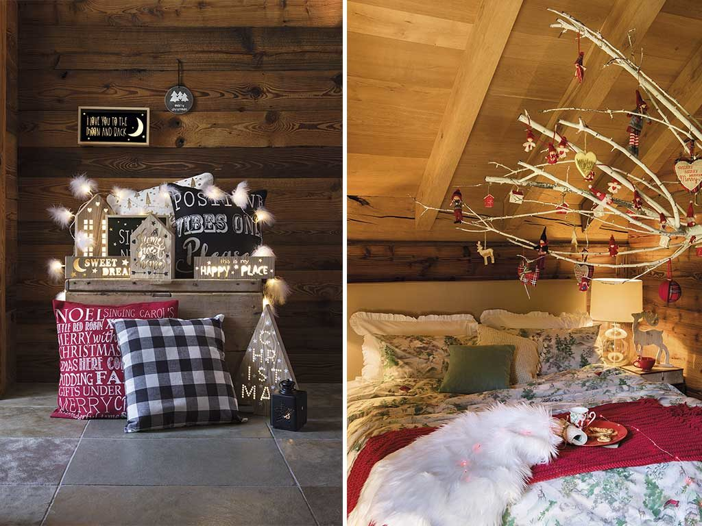 cuscini decorati e luci natale