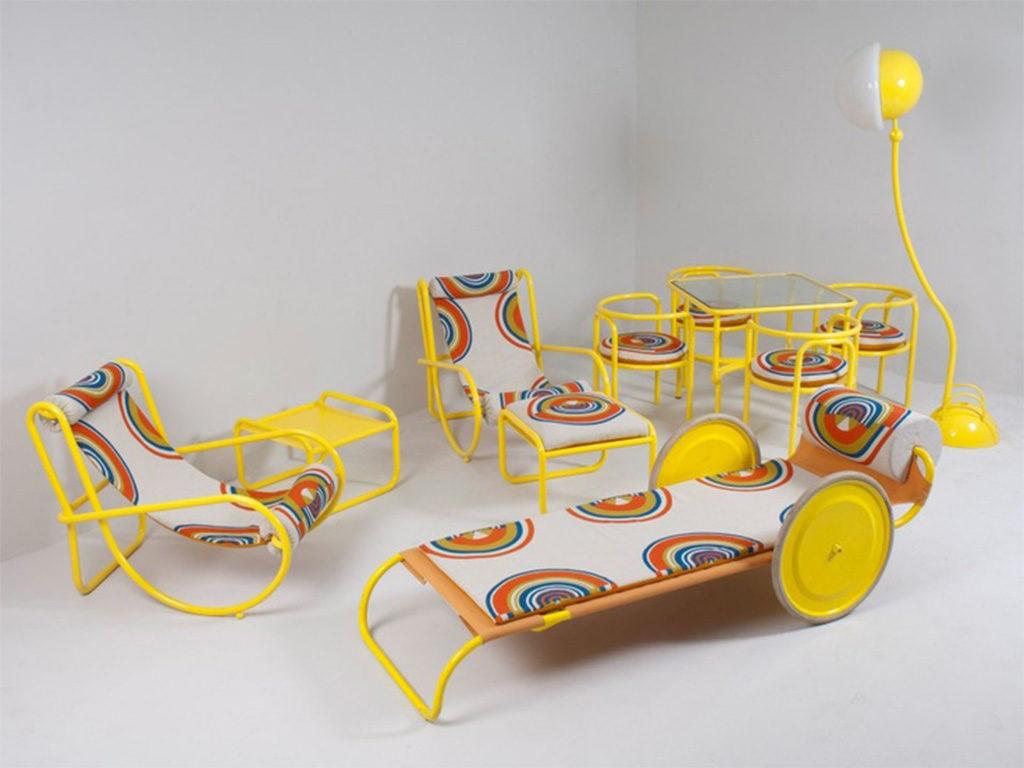 arredi giardino giallo ruote