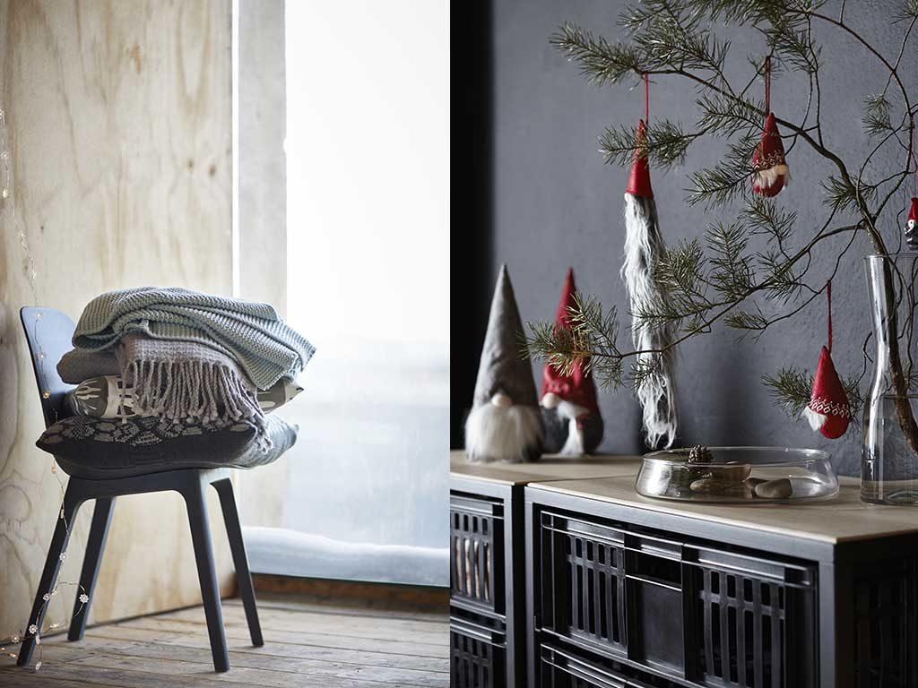 sedia e decorazioni natale