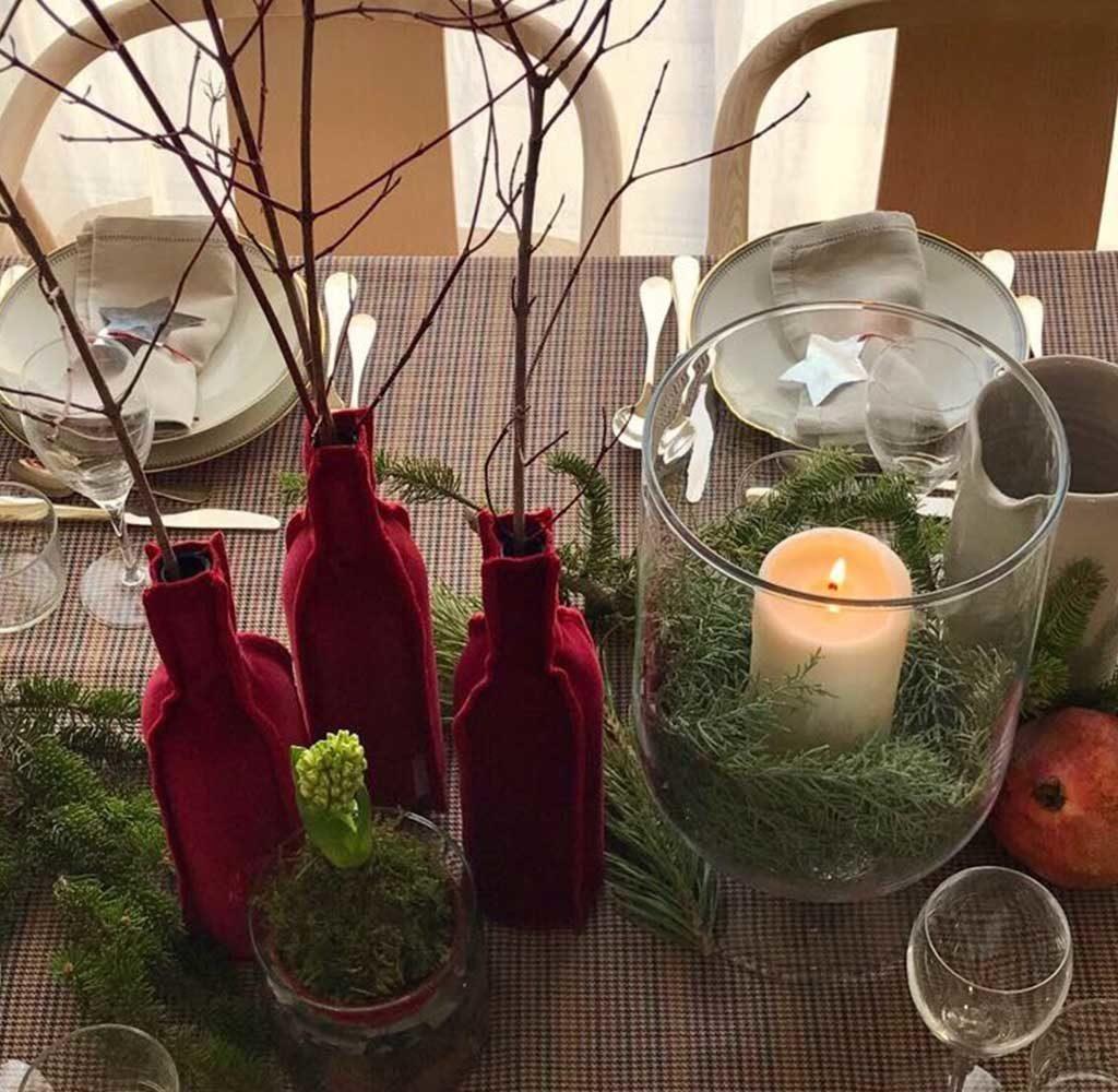 decorazioni tavola natale rosso