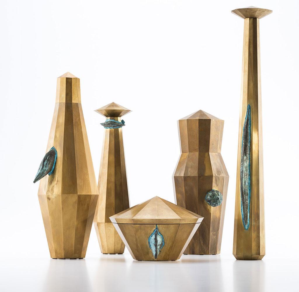 vasi contenitori ceramica oro